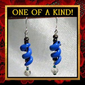 Blue Glass Snake Dangle Earrings #233